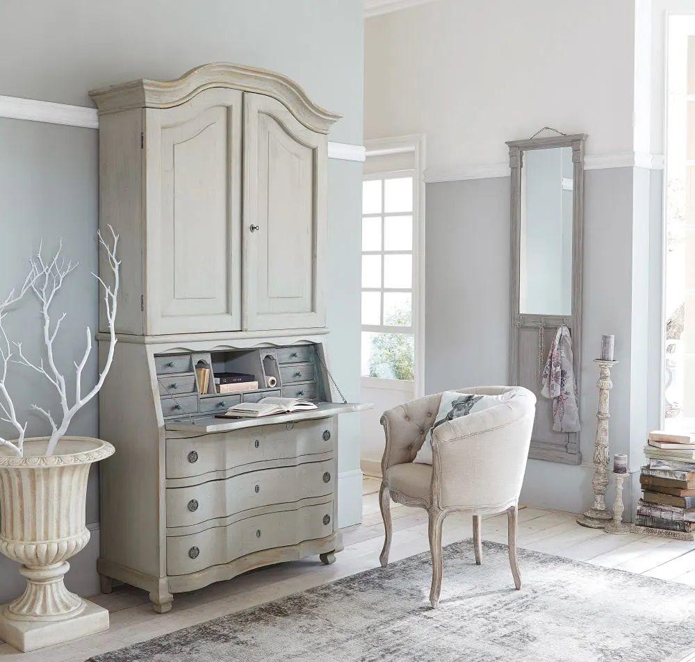 Lambris Ceruse Blanc Pas Cher armoire 2 portes cheverny 3 tiroirs gris clair et secrétaire