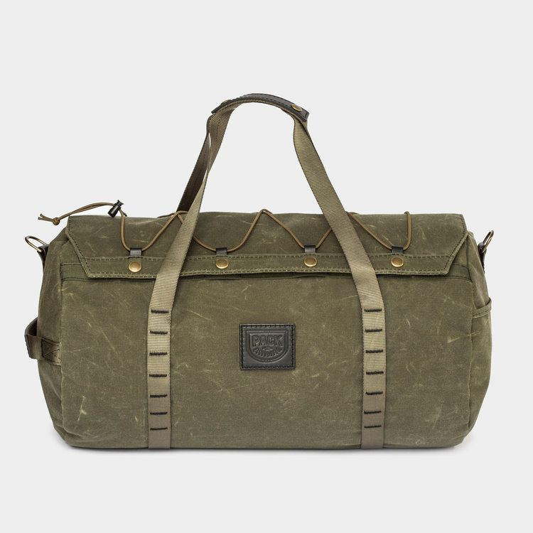 Photo of Lightweight Duffle Bag Green Canvas / Brown Leather — Pack Animal