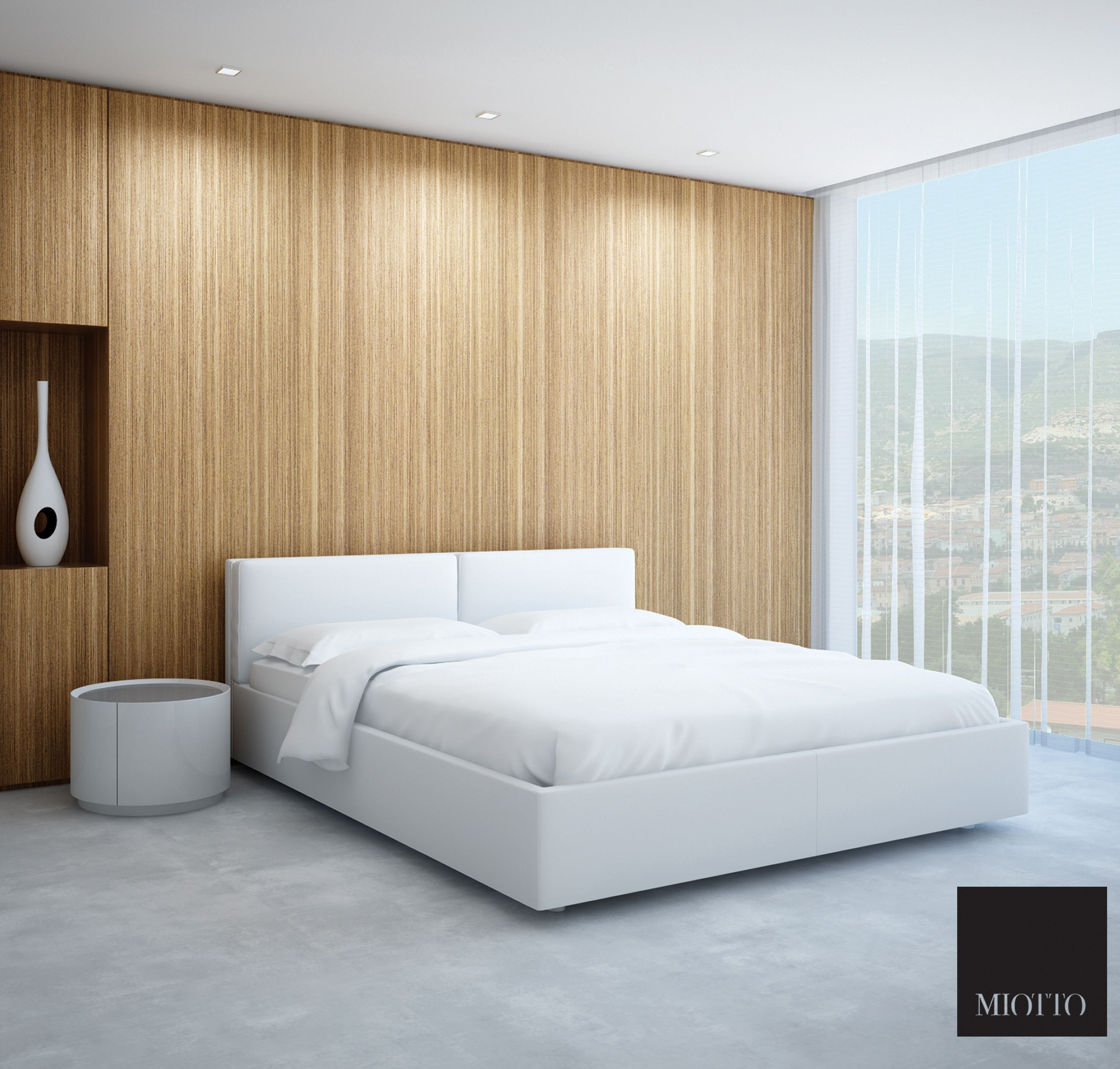 Best Girone White Leather Bed In A Modern Looking Bedroom Nice 400 x 300