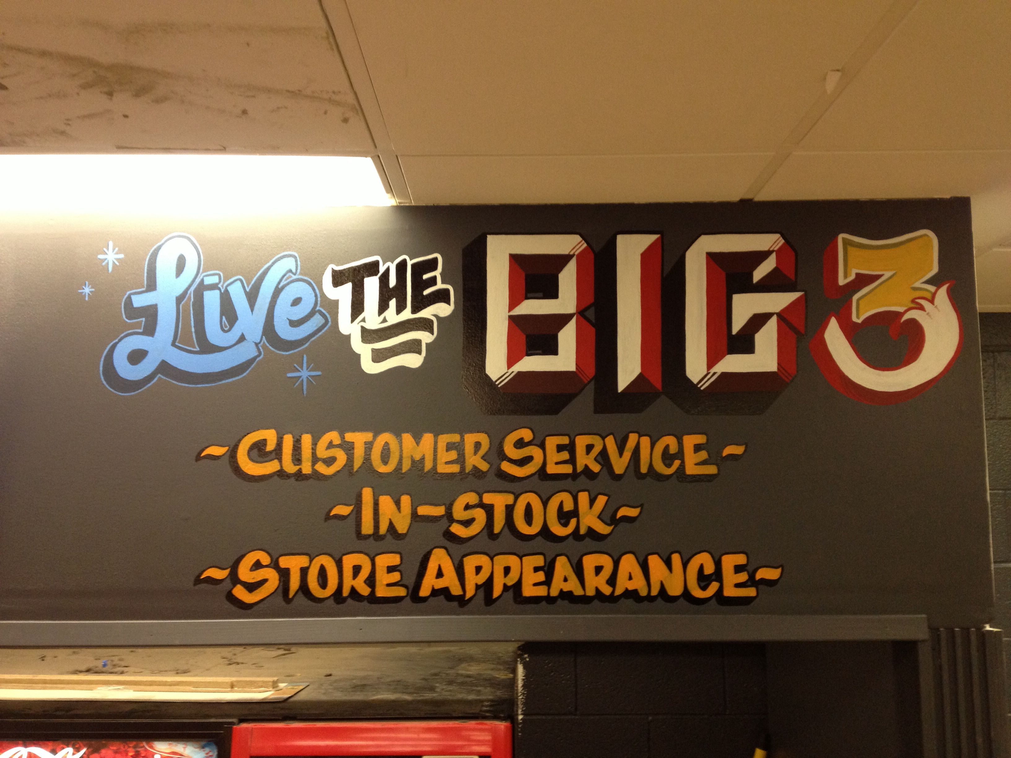 Live The Big 3 Hand Painted For The Home Depot Custom Letters Neon Signs Hand Painted