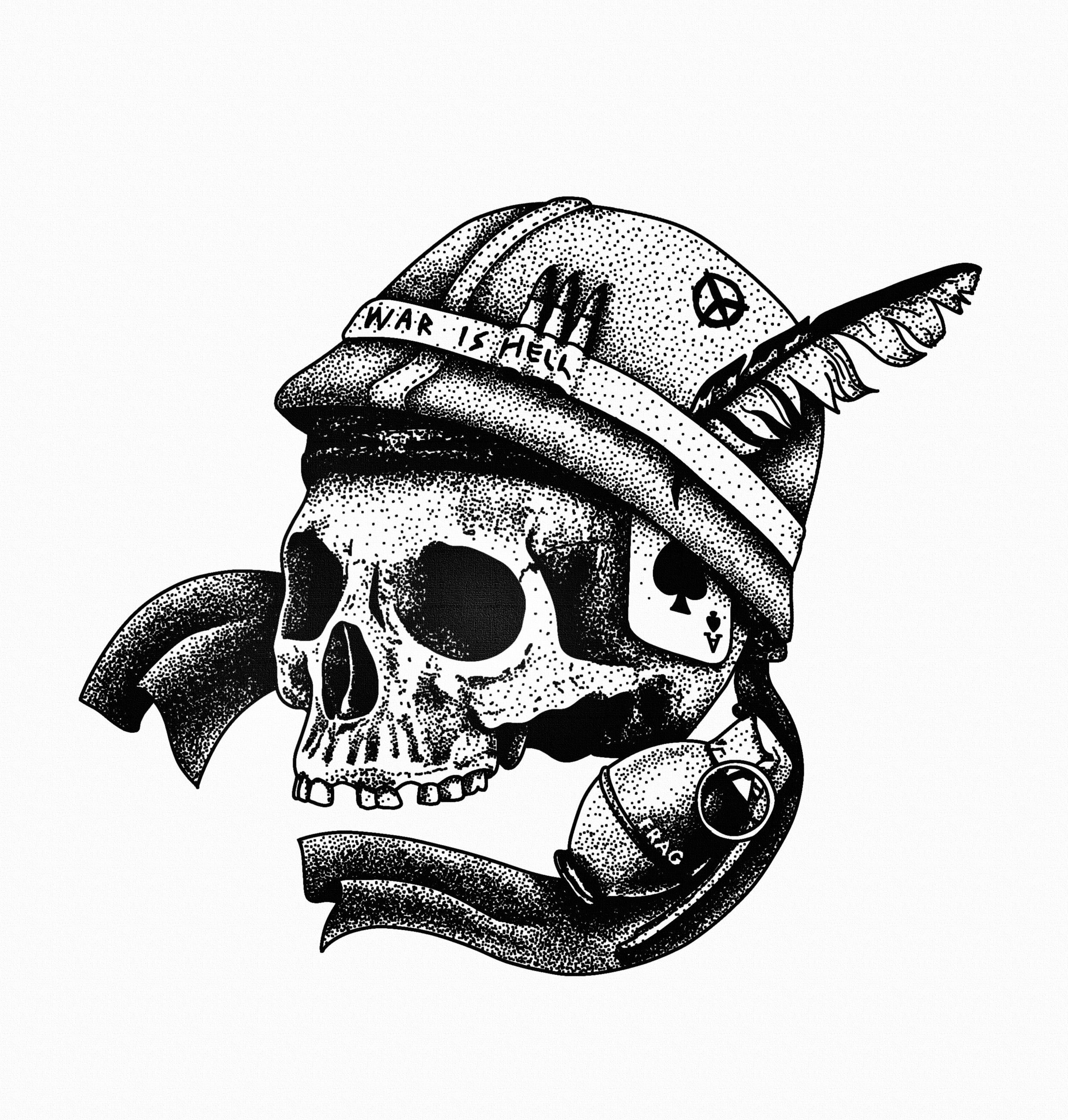 Stanley Duke Tattoo Illustration Design Blackwork Linework Dotwork Pointilism Stippling Bold Black White Skull Veitn War Tattoo Bullet Tattoo Military Drawings