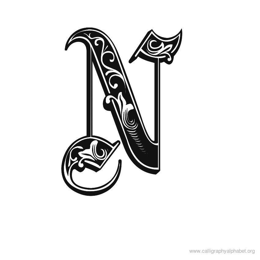 Calligraphy alphabet n sample