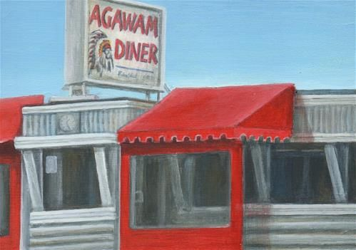 """Daily Paintworks - """"Agawam Diner"""" - Original Fine Art for Sale - © Debbie Shirley"""