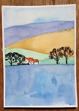 ACEO original Watercolor Painting Miniature The Lonely House...