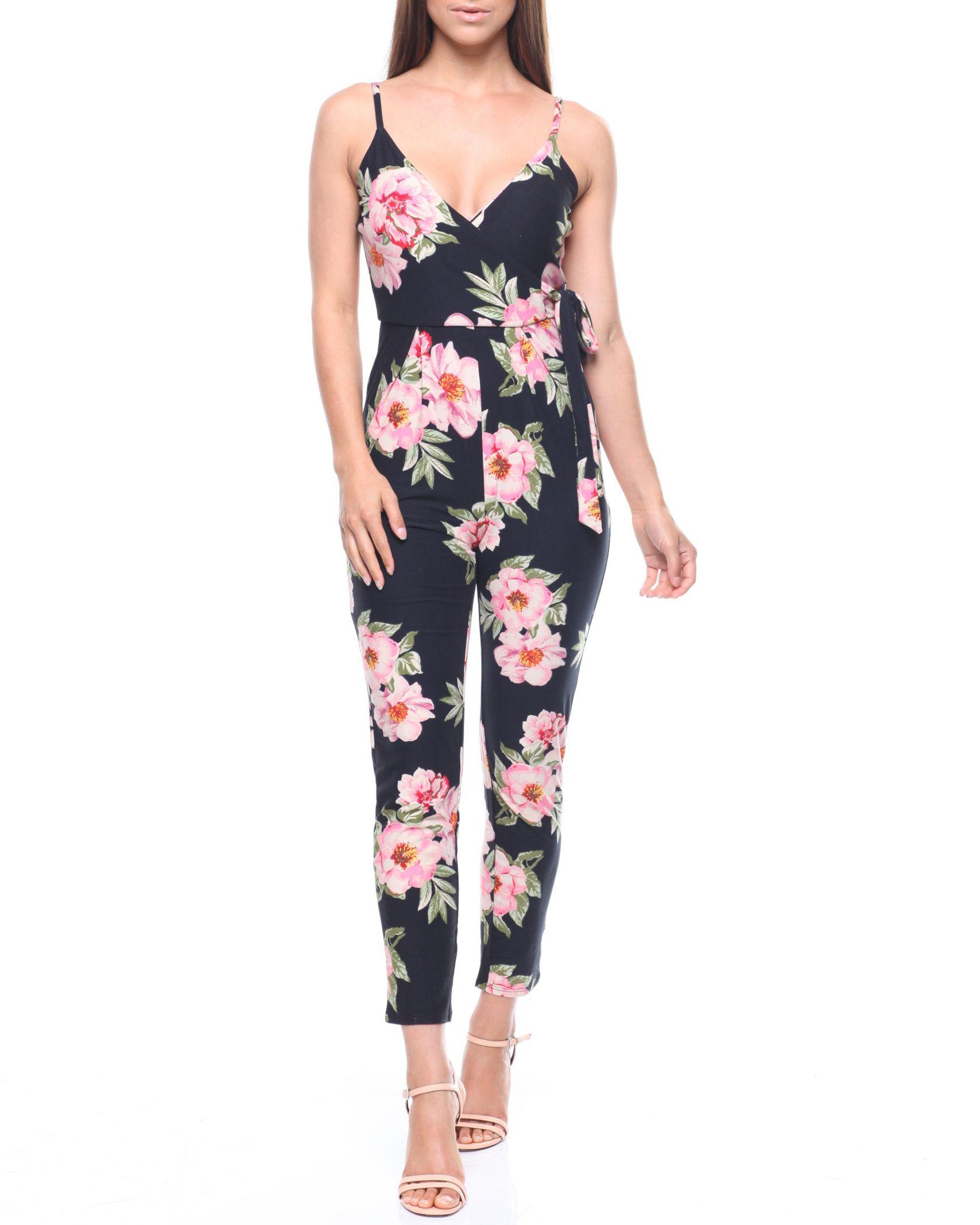 85f711ec245 Floral Tie Waist Surplus Jumpsuit Women s Jumpsuits from DEREK HEART. Find DEREK  HEART fashion   more at DrJays.com