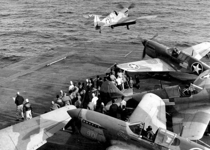 Curtiss P-40's taking off from USS Ranger, Operation 'Torch', North Africa, Nov. 1942