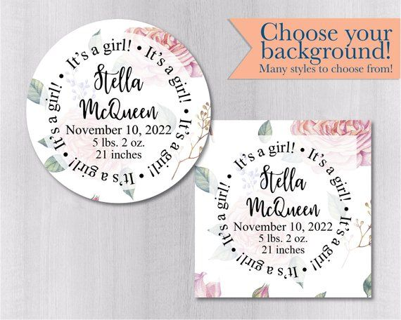 New Baby Announcement Stickers, It\u0027s a Boy! It\u0027s a Girl! Textured