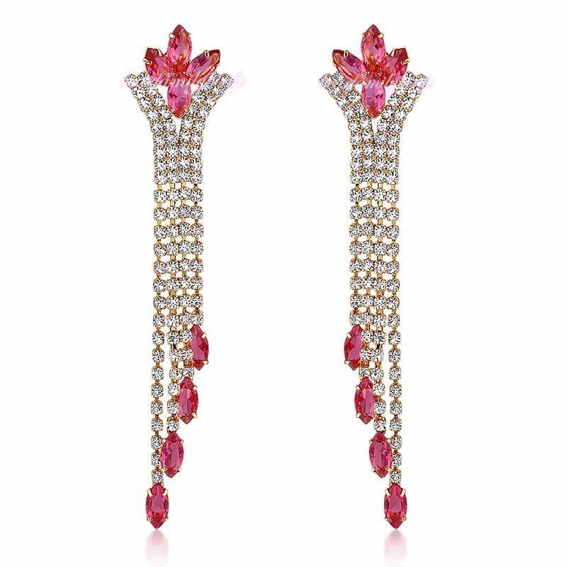 Elegant Ruby Swarovski Flower Crystal Earrings 18K Yellow Gold Plated Gift E183 #Bearfamilybirth #Cluster