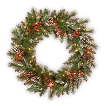 National Tree Company 24 inch Frosted Pine Berry Wreath with Battery