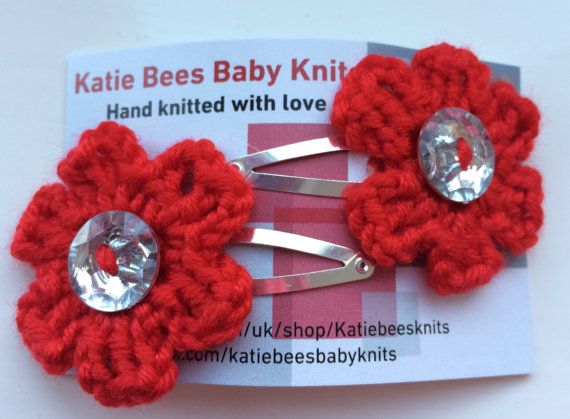 Pair of hand crocheted red flower hair snaps by Katiebeesknits
