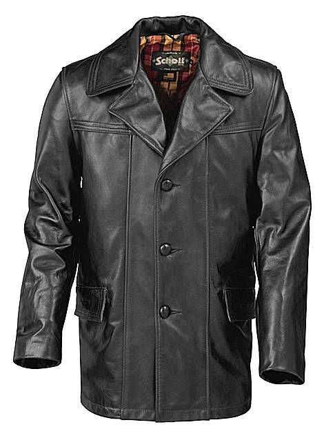cd80a2f3d1f4 Schott Lightweight Cowhide Fitted Retro Carcoat 645 Black, $670.00 Mens  Leather Coats, Vintage Leather