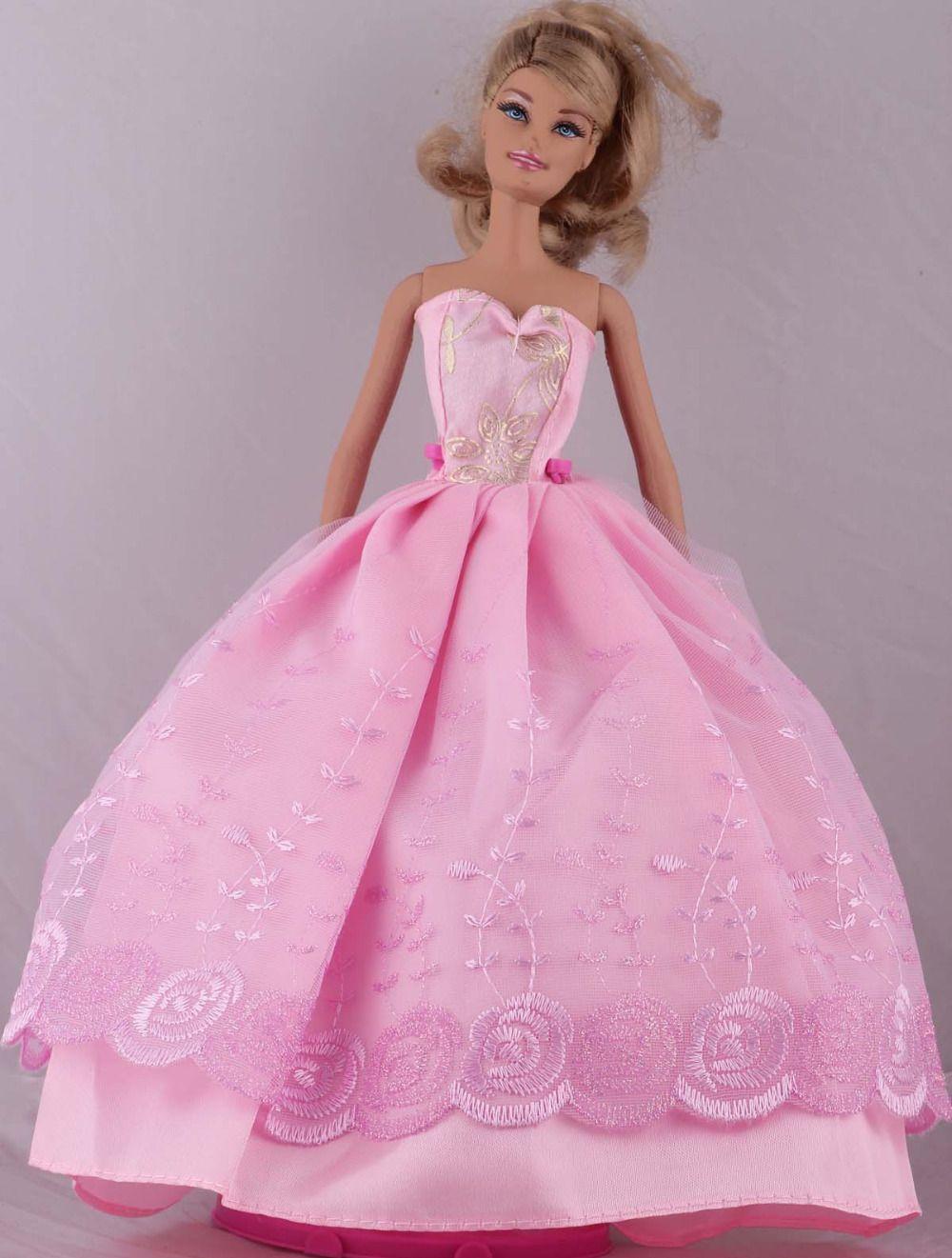 Barato Handmade rosa vestido / vestido de festa vestido de roupas ...