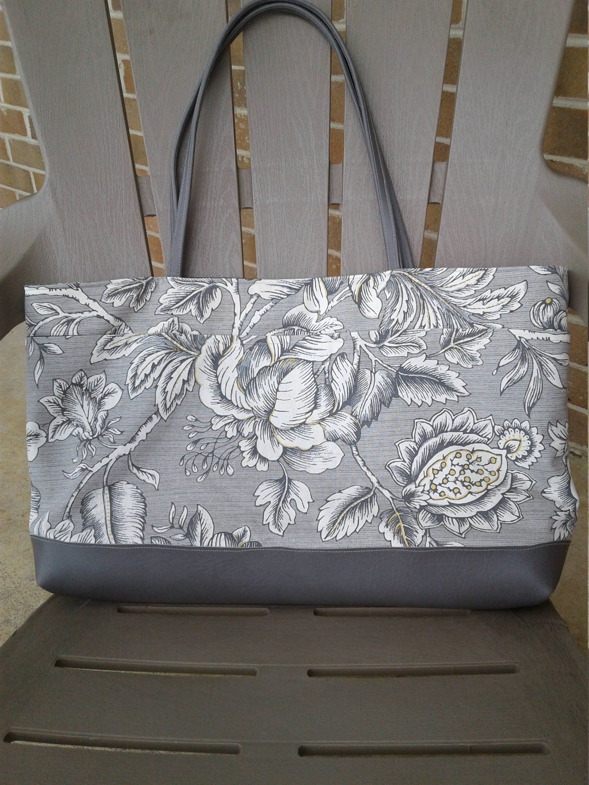 Flower Tote Bag 18w X 12t X 3d Grey Tote Bags Striped Tote