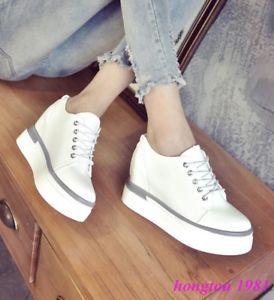 new concept d13f8 0e63f Moda-Para-mujeres-Con-Cordones-Tacones-Plataforma-Creepers-Cuna-Ocultos- Zapatos-tenis-solido