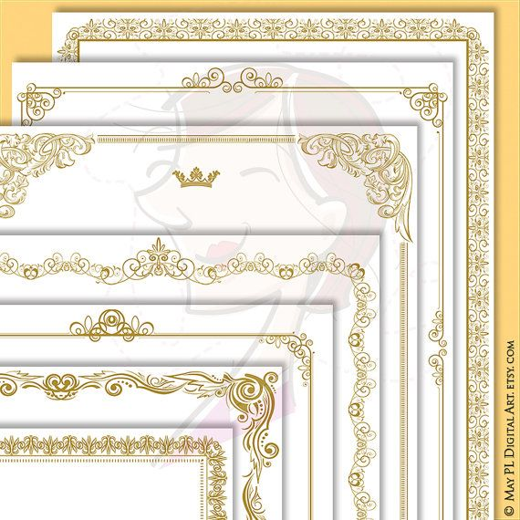 Gold Certificate Page Frames 8x11 Retro French Design Wedding Border Awards Diplomas Documents Antique VECTOR File Commercial Use 10083