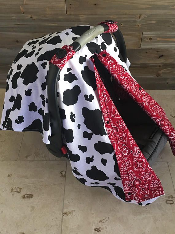 Swell Cow Print Car Seat Canopy Western Carseat Cover Red Bandana Frankydiablos Diy Chair Ideas Frankydiabloscom