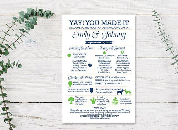 Fun Infographic Wedding Program Printed Cards or Printable PDF