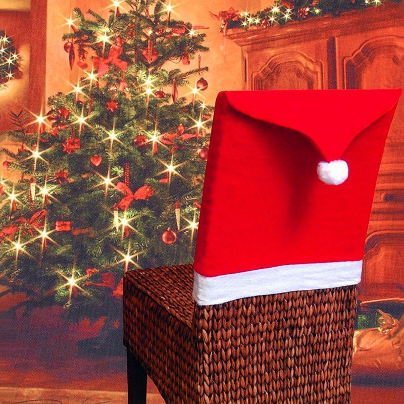 1pcs Christmas Santa Hat Dining Chair Back Covers Party Xmas Table Decoration