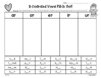 r controlled vowel fill in sort ar er ir or ur students teacher and reading workshop. Black Bedroom Furniture Sets. Home Design Ideas