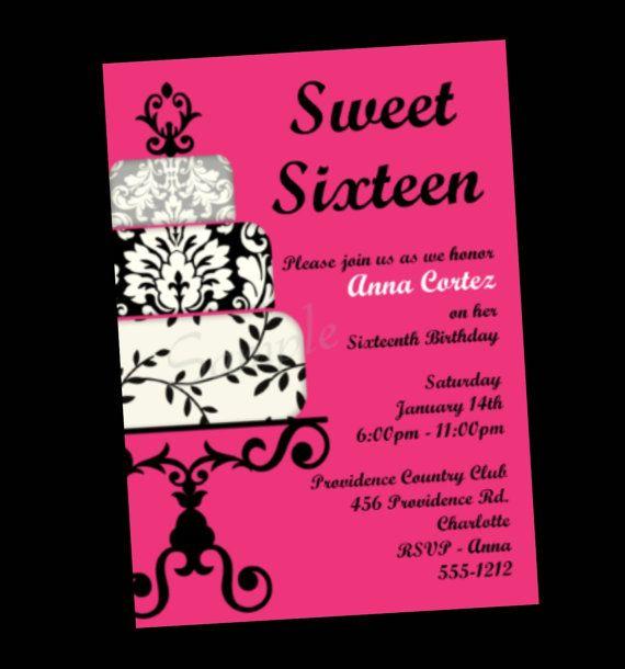 Sweet 16 Sixteen Birthday Invitation Black By Cutiestiedyeboutique