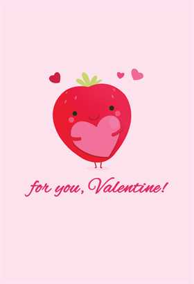 strawberry love printable card customize add text and photos print for valentines day