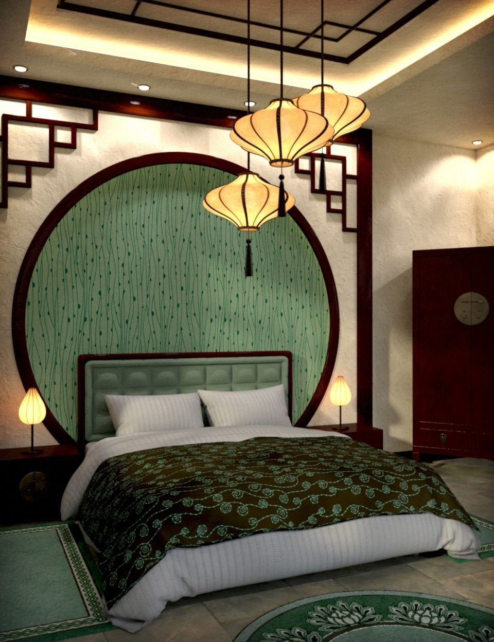 Modern chinese bedroom daz poser asian home decor - Modern japanese bedroom furniture ...