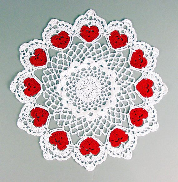 Crocheted White Red Valentine Heart Candle Doily by ronisboutique, $20.00