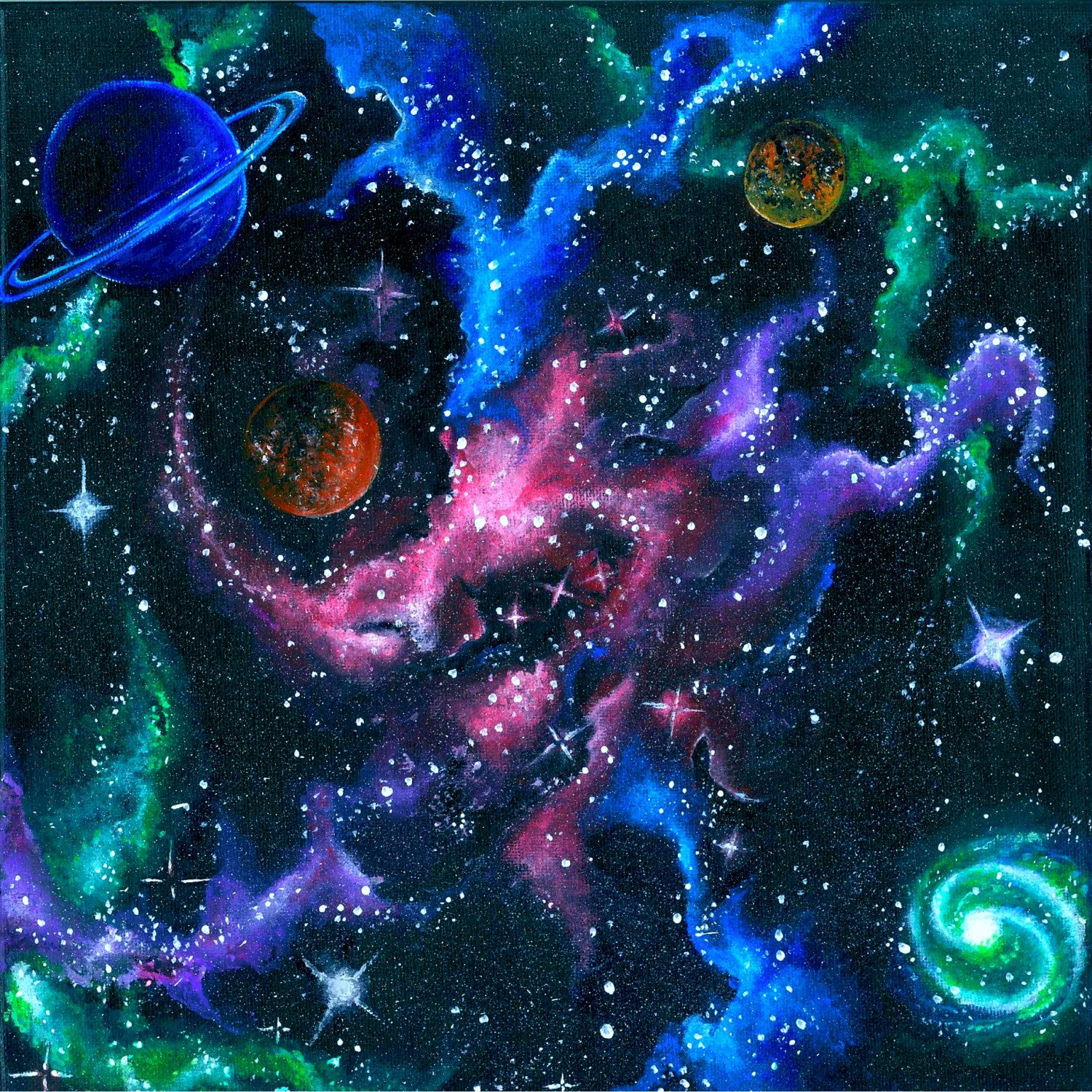 Acrylic space painting request a custom order and have for How to paint galaxy