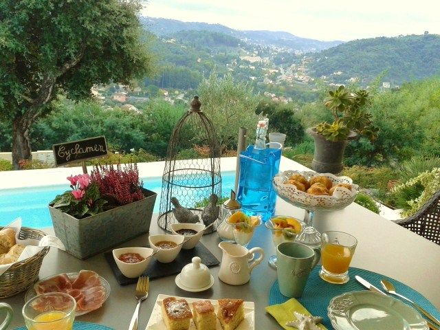 Nice Breakfast By The Pool At Villa Jacaranda, A Very Charming Bed U0026 Breakfast  In Provence