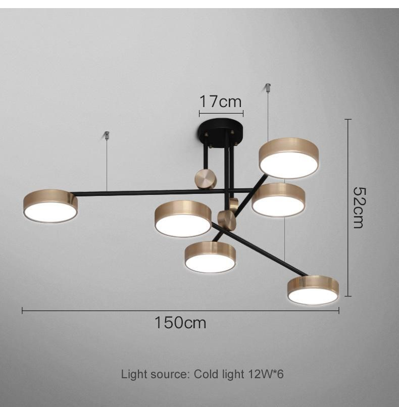 Post Modern Golden Bright Three Color Pendant Lamp Simple And