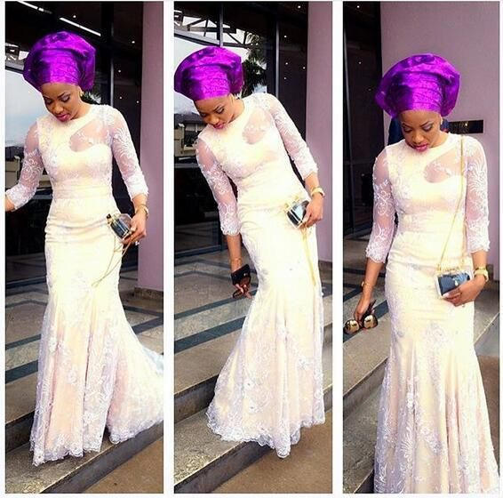 Latest Aso Ebi Styles Evening Gowns Sleeves Nigeria Lace 2017 Sheer Mermaid Prom Party Wedding Bridesmaid Dresses Jewel Neck Floor Length