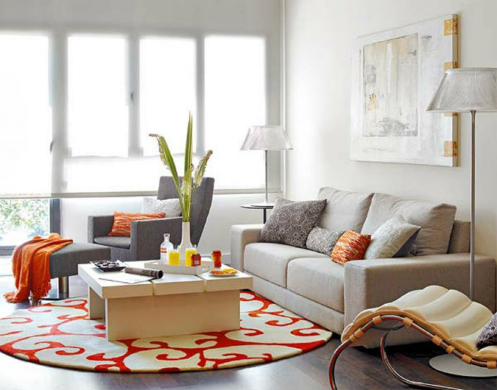 Living Room With Sofa And Round Area Rug  Round Area Rugs Living Interesting Circular Living Room Design Inspiration