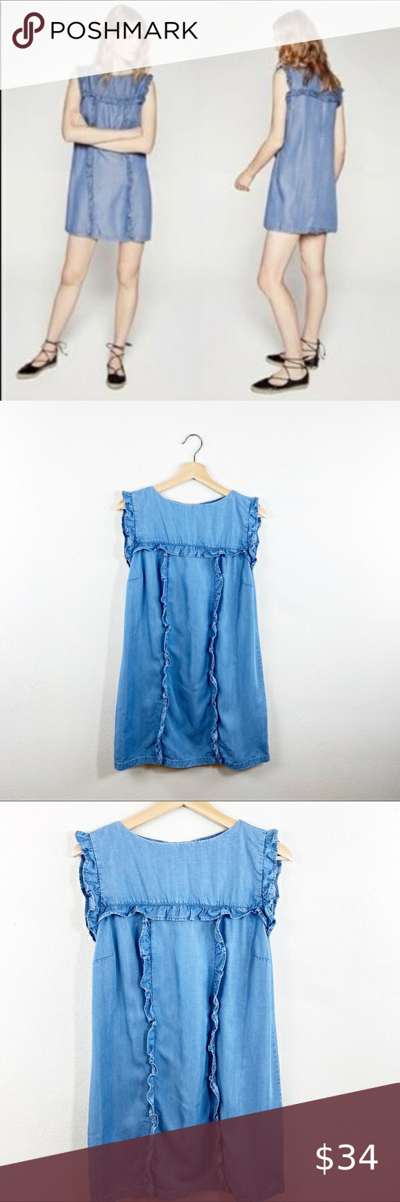 Zara Denim Tencel Chambray Ruffled Dress Ruffle Dress Dresses Fashion [ 1740 x 580 Pixel ]