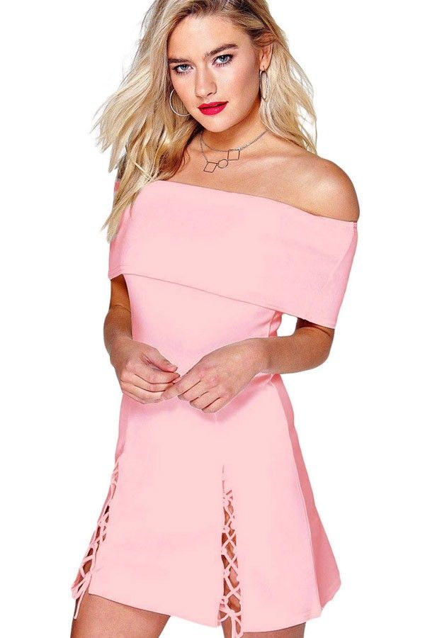 You're in for a surprise when you slip on this solid color sexy lace up dress! This unique off shoulder dress features a chic, side slit and off shoulder detail. Medium-weight stretch polyester creates the perfect fit.
