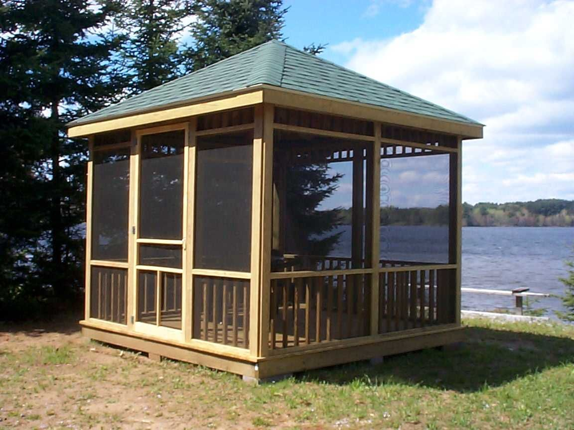 oh to live on a lake and have this lovely screened gazebo ...