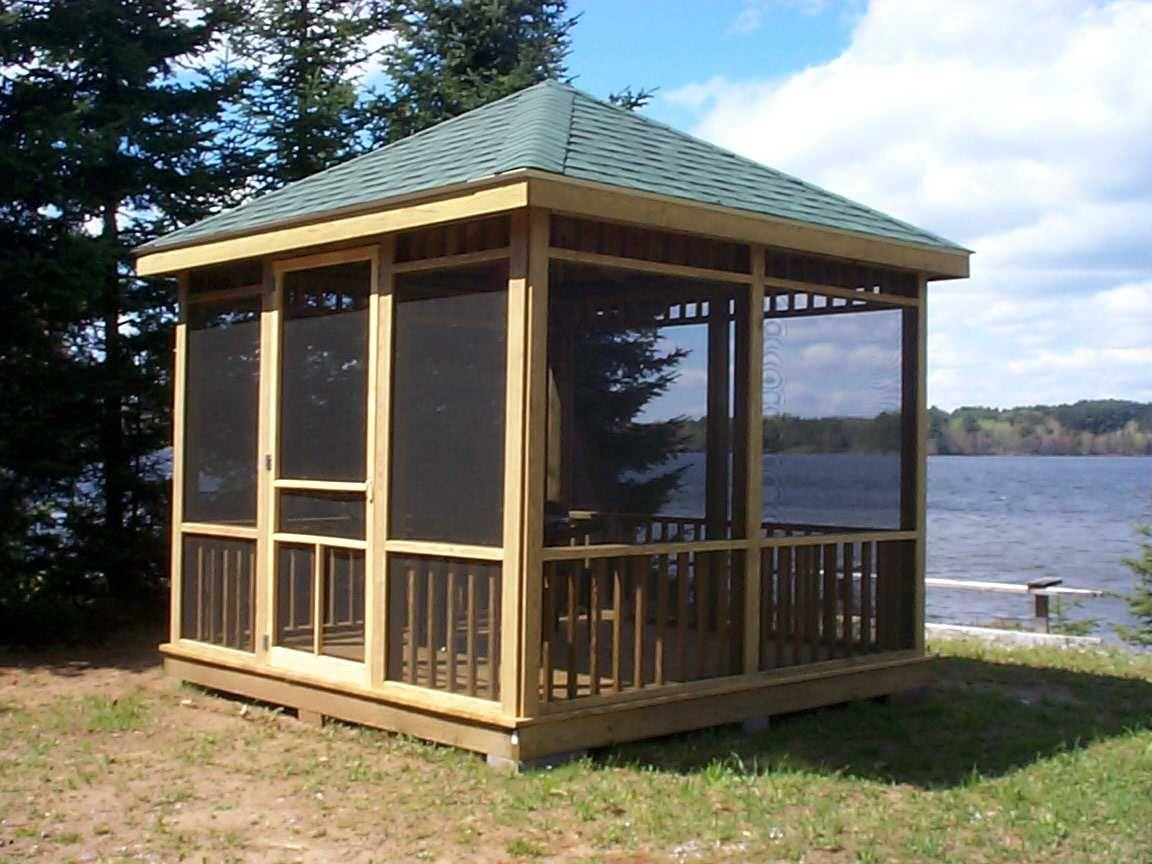 Oh To Live On A Lake And Have This Lovely Screened Gazebo Gazebo Plans Modern Gazebo Patio Gazebo