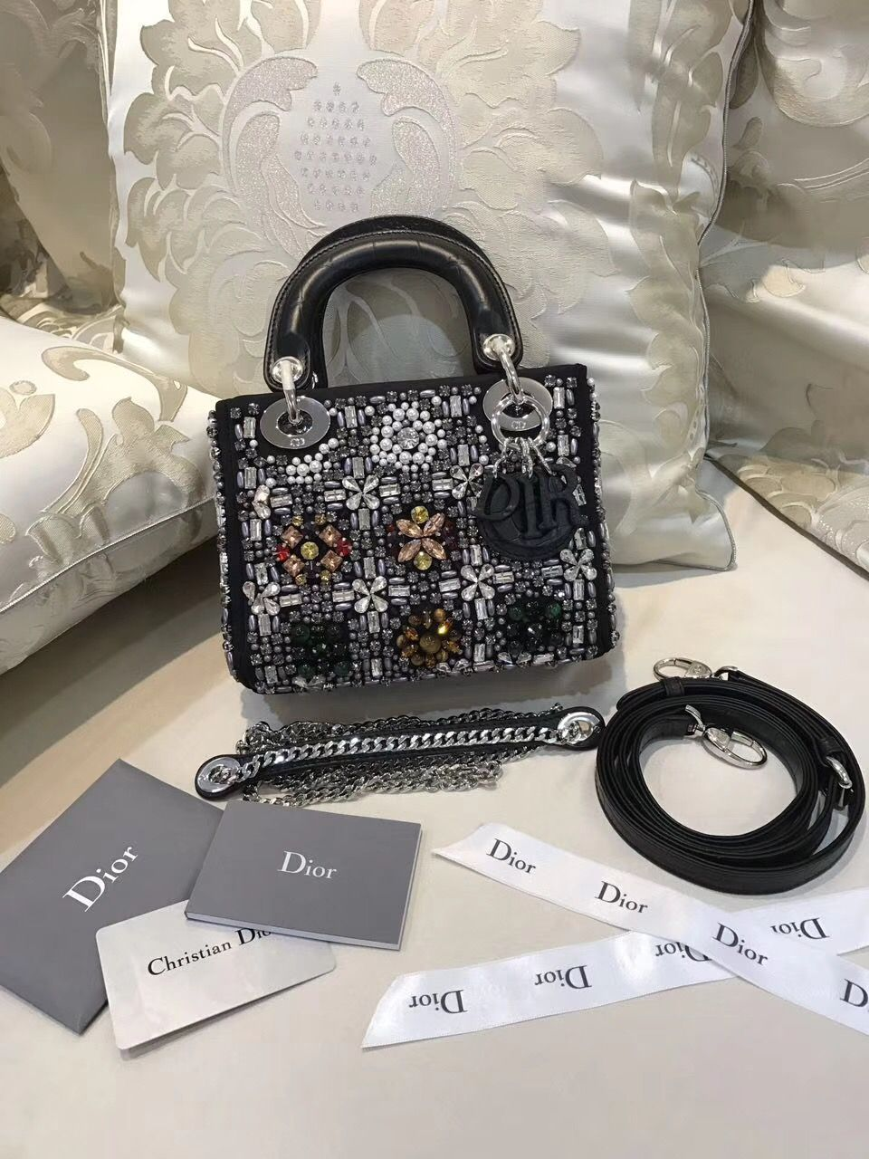Dior Mini Lady Dior Bag Embroidered with Jewelry 2018  6cd1901f3dc25