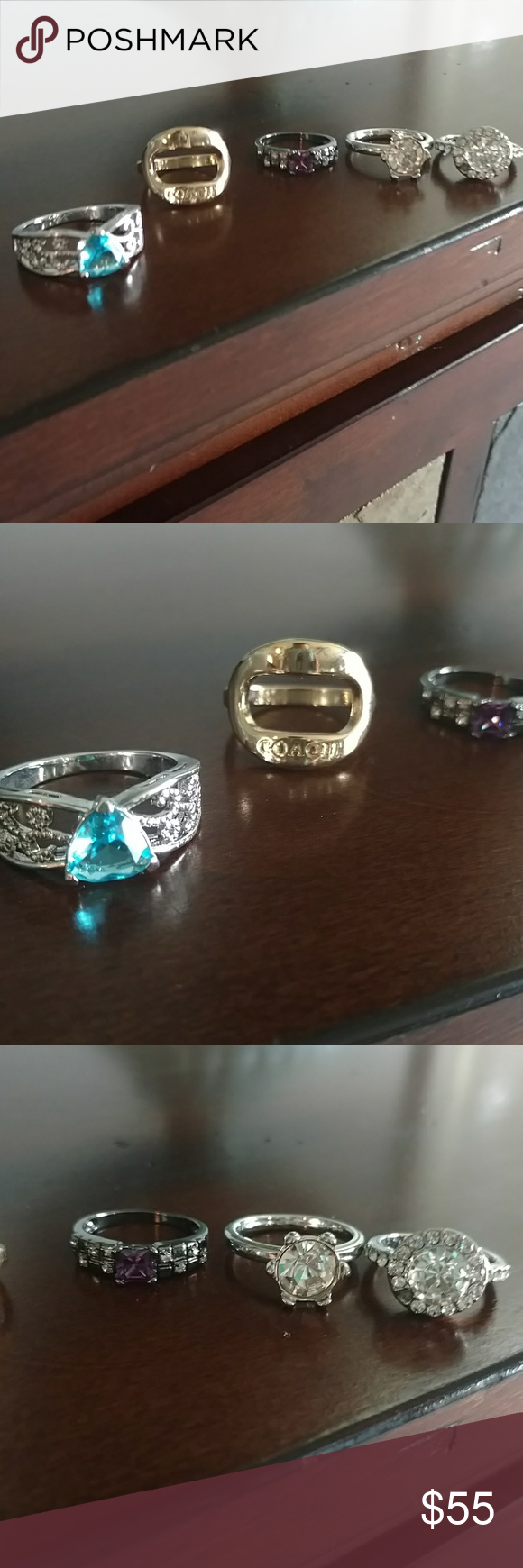 Lot of genuine vintage rings size 7-9 Lot is for genuine rings. Sterling silver, Platinum and titanium alloy is the metals. Blue topaz and amethyst and CZ stones. Will not separate lots Jewelry Rings