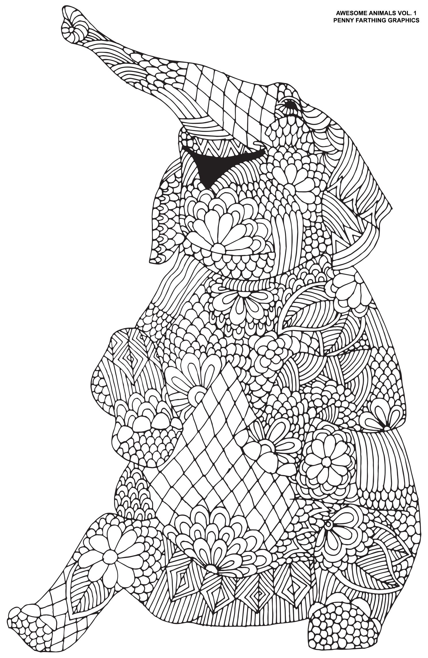 The Cute Elephant From Awesome Animals Elephant Coloring Page