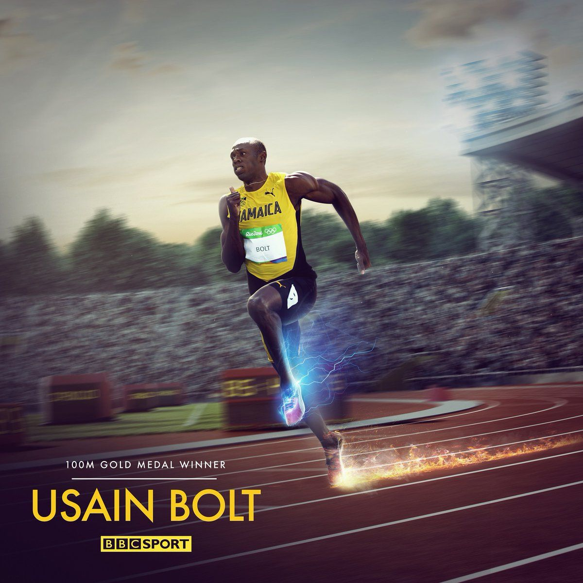 Usain Bolt The 1st athlete to win three Olympic 100m