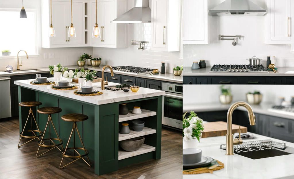 Updated Industrial Kitchen Hunter Green Kitchen Island