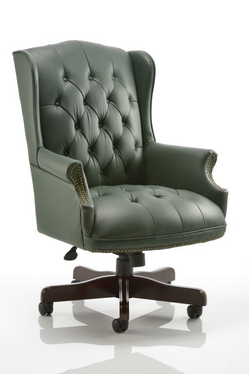 Genial Green Leather Office Chair