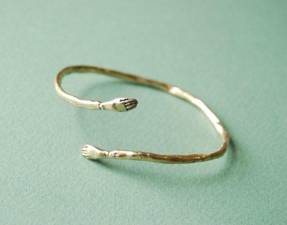 Golden Protective Hand Bangle and Silver Protective Hand Ring by Kaye Blegvad