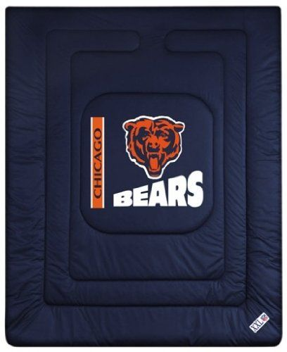 Chicago Bears Comforter in Midnight Blue (Queen) by Sports Coverage. $83.65. Covers are 100% Polyester Jersey top side and Poly/Cotton bottom side. filled with 100% Polyester Batting. Polyester. Allow 7 to 10 business days for shipment. Full/Queen comforter is 86 x 86 inches. Logos are screenprinted. Full/Queen comforter is 86 x 86 inches. Covers are 100% Polyester Jersey top side and Poly/Cotton bottom side, filled with 100% Polyester Batting. Logos are screenprinted. Allow...