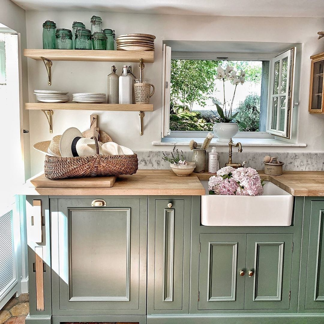 Countryhomemagazine On Instagram Colorful Cabinets Wood Countertops And A Farmhouse Sink Yep It Green Kitchen Cabinets Kitchen Interior Home Kitchens