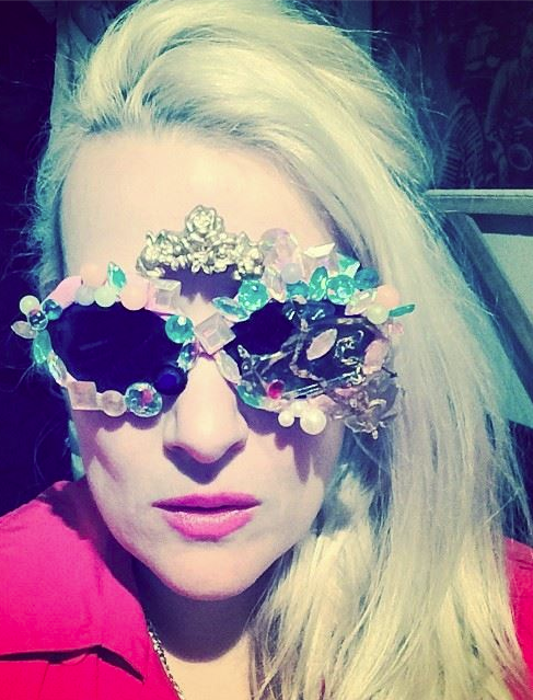 """Conchetta Kirschner wears Mercura mixed media art sunnies she is better known as Princess Superstar is an American rapper and DJ. Her musical style, as she describes it, is """"flip-flop"""""""