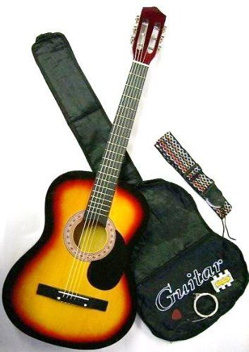 38 Inch Student Beginner Sunburst Acoustic Guitar With Carrying Case Accessories Directlycheap Tm Translucent Blue Medium Guitar Pick Sk Ag381
