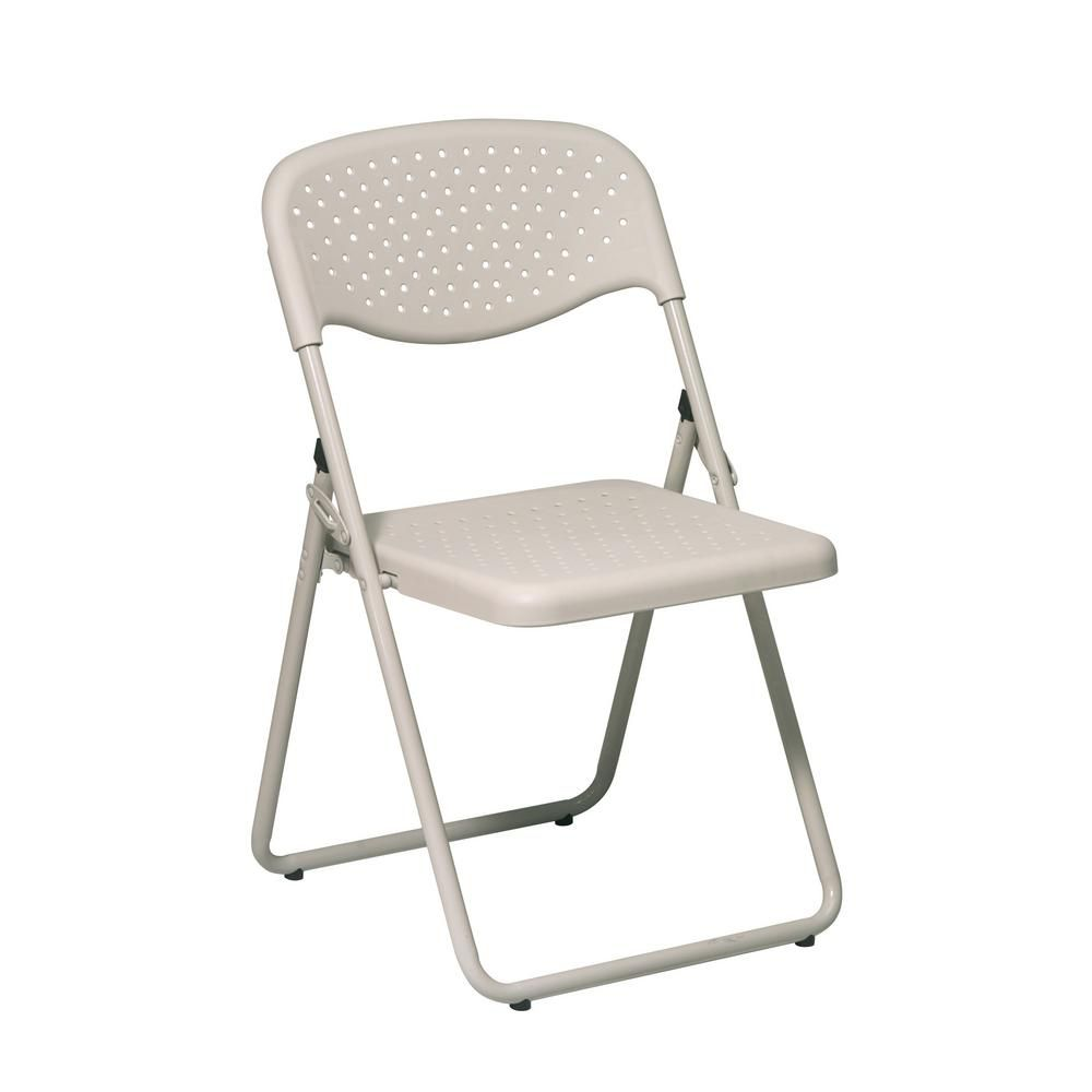 Osp Home Furnishings Beige Plastic Seat Stackable Folding Chair