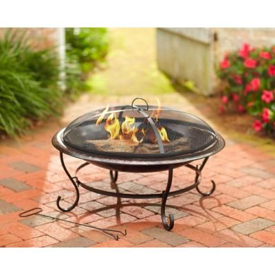 Hampton Bay Lawrence 29 in. Round Wrought Iron Fire Pit-DS ... on For Living Lawrence Fire Pit id=63030