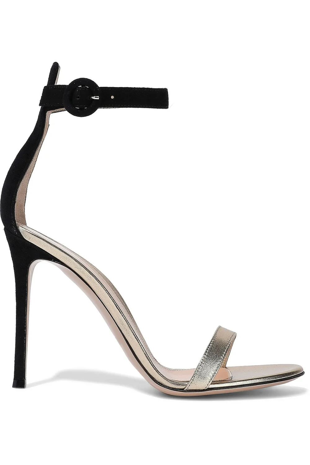 Gold Portofino 105 Suede And Metallic Leather Sandals Sale Up To 70 Off The Outnet Gianvito Rossi In 2020 Metallic Leather Sandals Sandals For Sale Sandals Heels